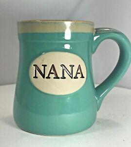Porcelain Coffee Mug NANA 18 Oz Mint Green Aqua Burton /& B Gift Box USA SELLER