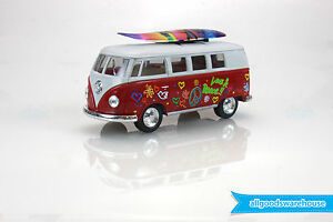 1962 Volkswagen Classical Bus 1:32 scale Die Cast Red model Kombi + surfboard