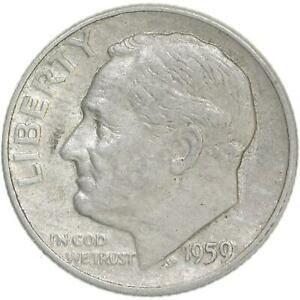 1959-Roosevelt-Dime-90-Silver-Extra-Fine-XF