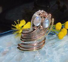 Ring Kobra Schlange Augen aus Mondstein Sterling Silber 925 Fassung zweifarbig