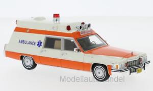 Cadillac Superior Ambulance weiss//orange 1977 1:43 Neo Scale Models 47240  *NEW*