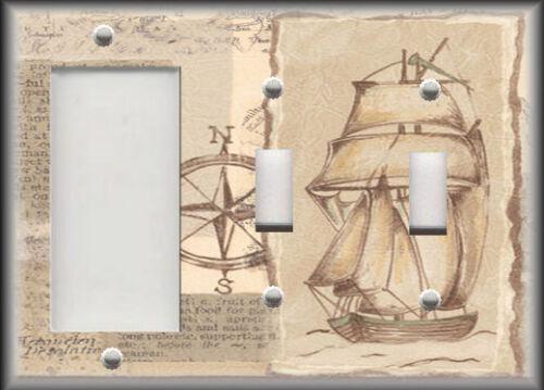 Nautical Coastal Decor Vintage Ship Decor Metal Light Switch Plate Cover
