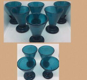 10-Vintage-Hand-Blown-Bubble-Blue-Glass-Cordial-Glasses-6-Plain-4-Paint-Streaked