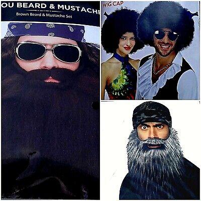 Mens Halloween Cosplay  Bayou Beard And Mustache Afro Wig  NWT