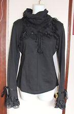 Gothic Lolita Punk Visual Kei Black Hi Neck Long Sleeve Top S