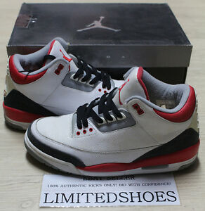 6b128ef468e NIKE AIR JORDAN 3 III RETRO FIRE RED 136064-161 US 8.5 db white 88 ...