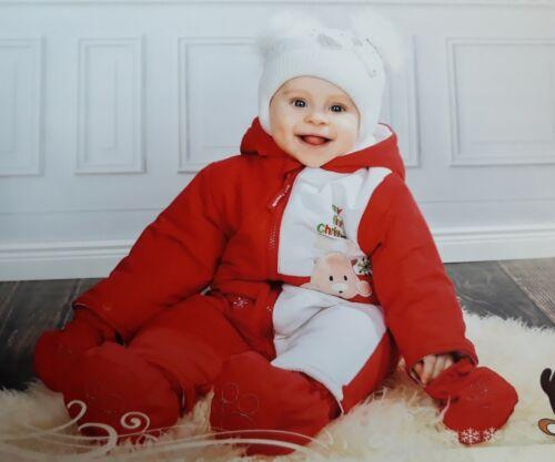 Baby Winter Overall Wattierter Schneeanzug Rentier Weihnachten Xmas Wagenanzug