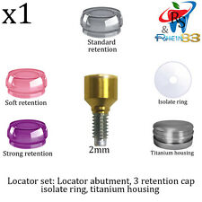 Dental Implant Locator Attachment Set Abutment Silicone Caps Ring Housing 2mm