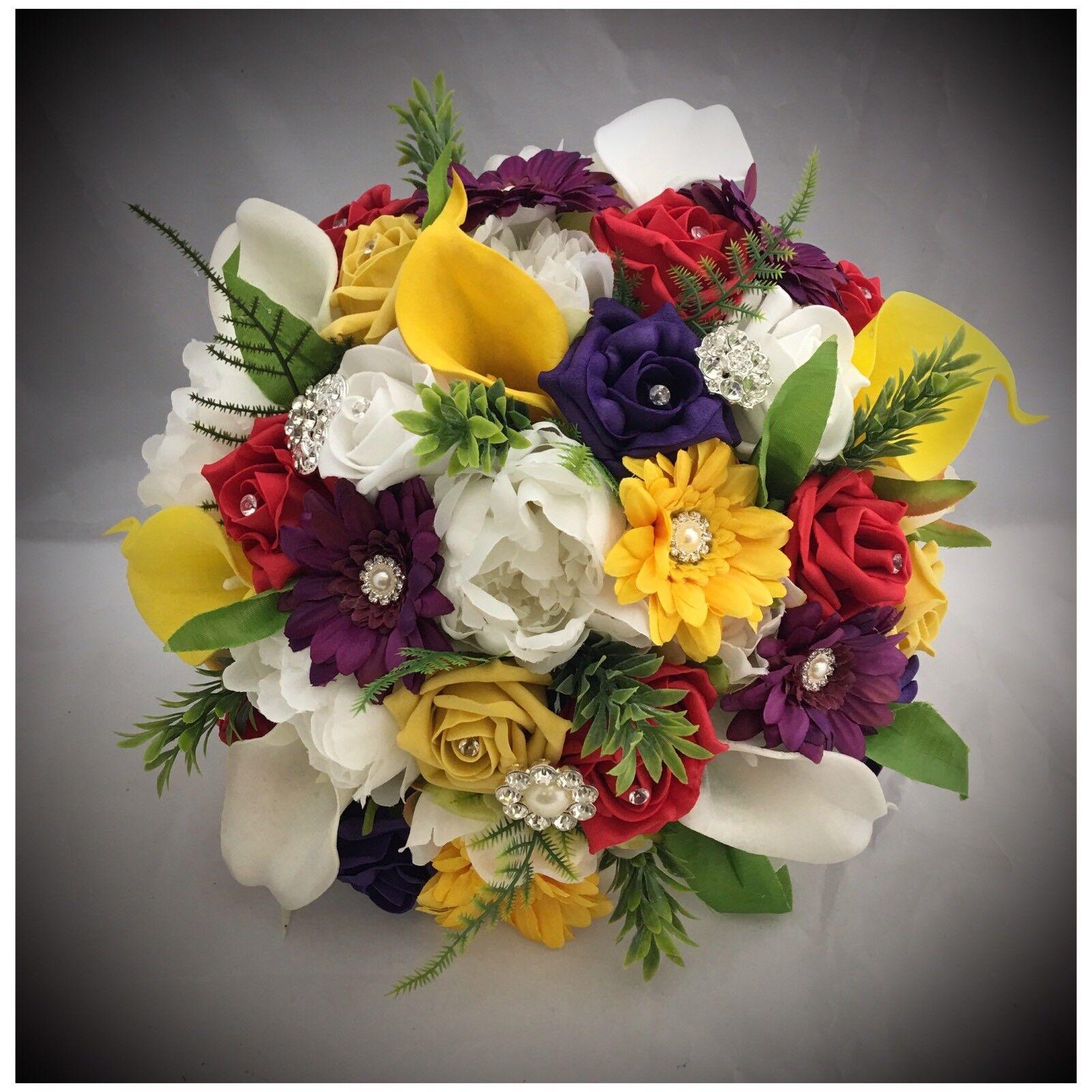 BRIDE BROOCH MIXED FLOWER rot Gelb lila WEDDING BOUQUET PEONIE GERBERA