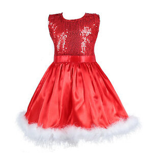 UK-Seller-Sale-Prettly-Kids-Christmas-Outfit-Party-Red-Dress-Sequin-1-5-Years