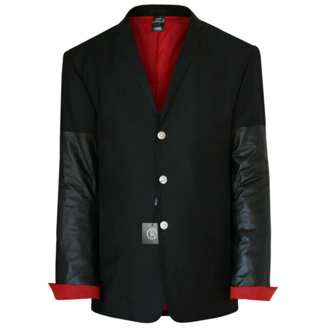 RYNSHU MASATOMO JAPAN $2,899 leather sleeve black wool blazer jacket 3XL NEW