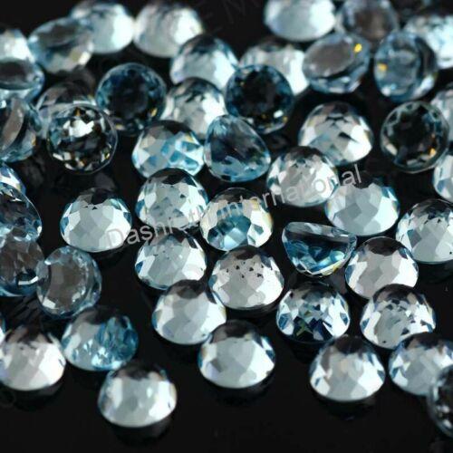 Sky Blue Topaz Rose Cut Round AAA Quality Loose Gemstones