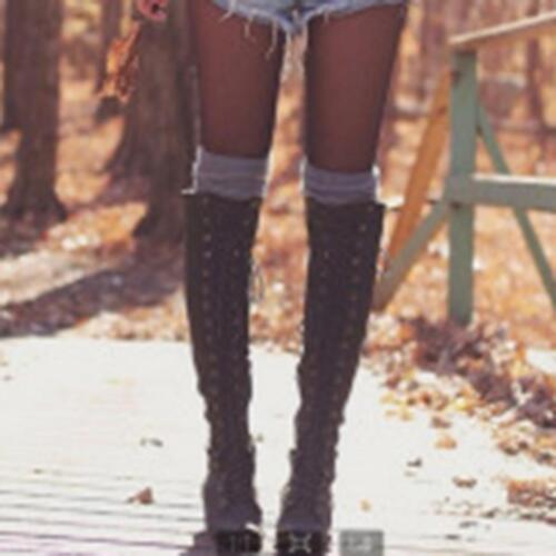 Femme Winter Lace Up Knee High Rivet Long Bottes Moto combat Équitation Chaussures
