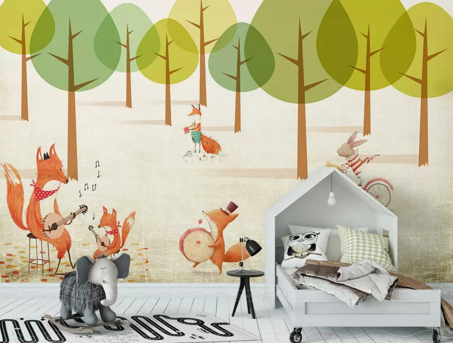 3D Forest Fox Tree 93 Wall Paper Exclusive MXY Wallpaper Mural Decal Indoor Wall