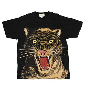 NEW-GUCCI-Black-Cotton-Tiger-Embroidered-Design-Over-Sized-T-Shirt-Size-XL-1500