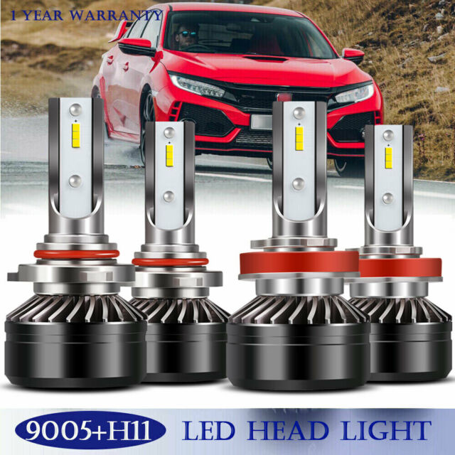 9005+H11 Combo LED Headlight High&Low Beam 6000K White 120W 24000LM Error  Free