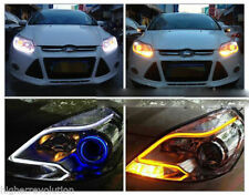 2 x 60cm LED Audi Type Flexible Strip DRL Dual -White & Amber For Hyundai i20