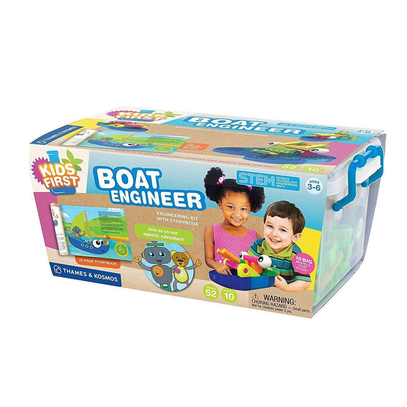 Kid 52pc Boat Building Kit Science STEM Education Toddler Learning Plastic Case