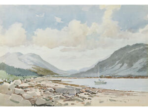 Lakeside / Mountain Landscape by Roy Berry - Original Watercolour Painting