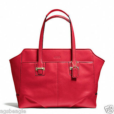 Coach Bag F25205 TAYLOR LEATHER ALEXIS CARRYALL CORAL RED Agsbeagle #COD PAYPAL