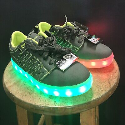 5 4 FLASH LIGHTS BOY/'S RECHARGEABLE SHOES BLACK//GRAY//GREEN NEW SIZES 2 3