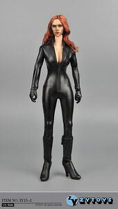Details about ZY TOYS 1/6 Black Widow Female Leather PU Jumpsuit Clothing F  12'' Action Figure