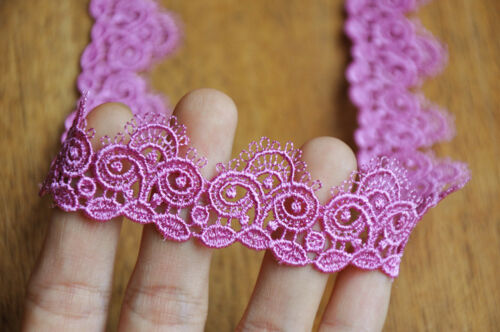 Purple color embroidered  lace trim price for 1 yard