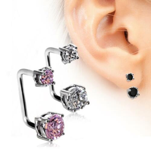 316L Surgical Steel Loop Cartilage Earring CZ/'s 16G