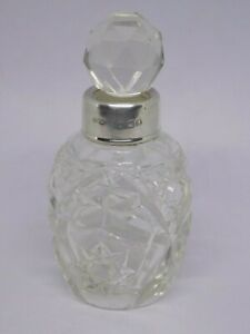 1922 HENRY PERKINS ANTIQUE ENGLISH STERLING SILVER RIMMED CUT GLASS SCENT BOTTLE