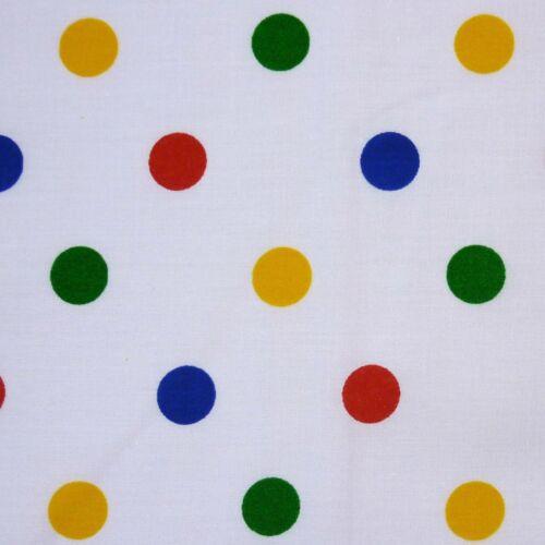 Children In Need Per Metre White Polycotton with Medium Multi Primary Spot