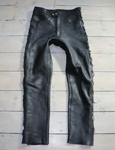 Men-039-s-Vintage-Black-100-Leather-Jeans-Trousers-54-W34-L34-ORDER-FOR-dublinshop