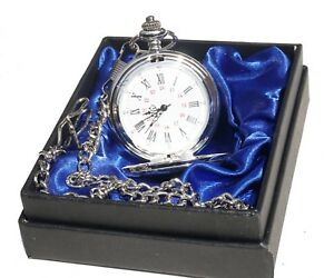 Personalised-Engraved-Silver-Pocket-Watch-red-blue-or-black-satin-Gift-Box