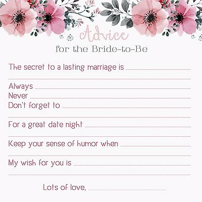 Insert Cards Wedding Shower Game Card Package Newlywed Advice and Wishes Cards for Bride and Groom BL1 Bridal Shower Game Cards