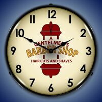 Old Style A Gentlemens Barber Shop Haircuts & Shaves & Pole Light Up Clock
