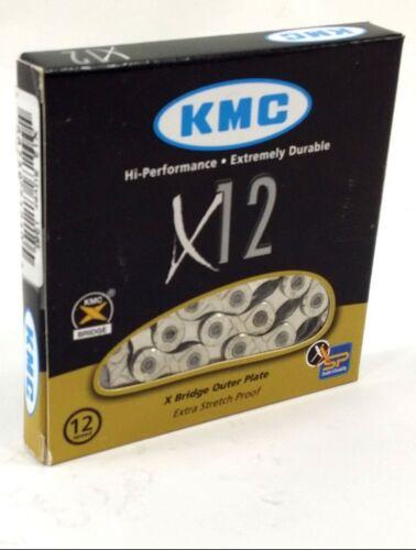 KMC X12 12-Speed 126-Links MTB Bike Chain Silver fits 12-Speed SRAM NX//GX Eagle