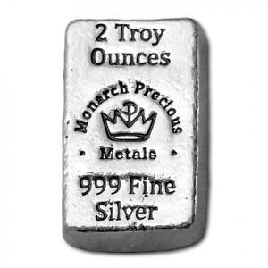 Hand-Poured-MPM-Mint-034-Little-Chunky-034-2-oz-999-Fine-Silver-USA-Made-Bullion-Bar
