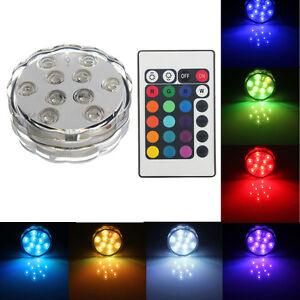10-LED-RGB-Lampe-Lumineuse-Spot-Sans-Fils-Etanche-24IR-Remote-Vase-Base-Batterie