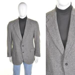 VINTAGE 60s/70s Tweed Wool Jacket L 42R Grey Herringbone Blazer Sportcoat Mod