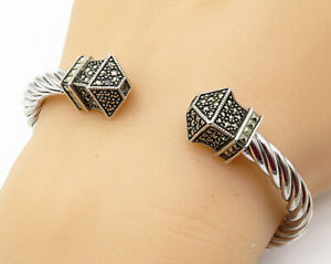 925-Sterling-Silver-Vintage-Marcasite-Twisted-Rope-Hinged-Cuff-Bracelet-B3316