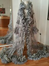 Drag Queen/burlesque negligee OTT peignoir /sheer coat/ costume/ wedding/stage