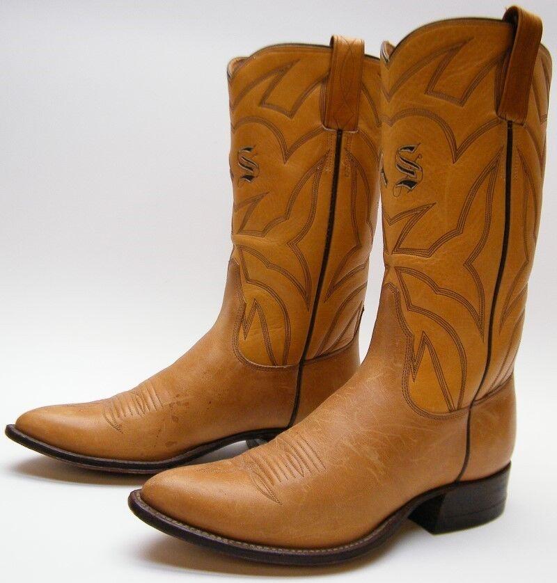 all'ingrosso a buon mercato donna VTG INITIAL  AS    CUSTOM TAN BRN LEATHER COWBOY WESTERN stivali SZ 6.51 2 B  in vendita