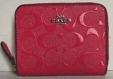 8c11faba9e8d Coach F38709 38709 Neon Signature Patent Leather Small Zip Around Wallet  Pink