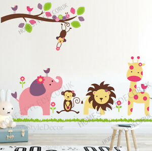 Large-Jungle-Animals-Zoo-Wall-Decal-Stickers-Kids-Nursery-Girls-Room-Decor-Art