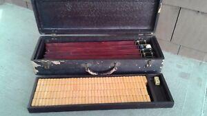 Vintage-Mah-Jong-Jongg-Juego-Mahjong-mosaicos-de-esquina-redonda-145-De-Baquelita-Juego-de-raices