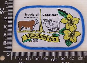 VINTAGE-ROCKHAMPTON-QLD-EMBROIDERED-SOUVENIR-PATCH-WOVEN-CLOTH-SEW-ON-BADGE