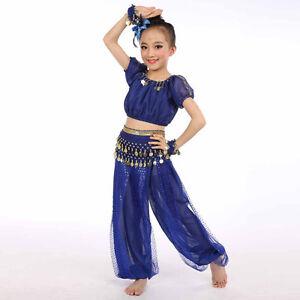 Children Girl Belly Dance Costumes Kids Chiffon Sequins Egypt Dancing Clothes UK