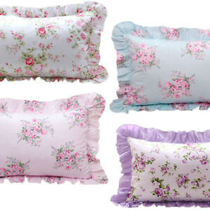 1 SHABBY CHIC CHOOSE* Pink Blue Gray ROSE Floral Ruffled PILLOW SHAM