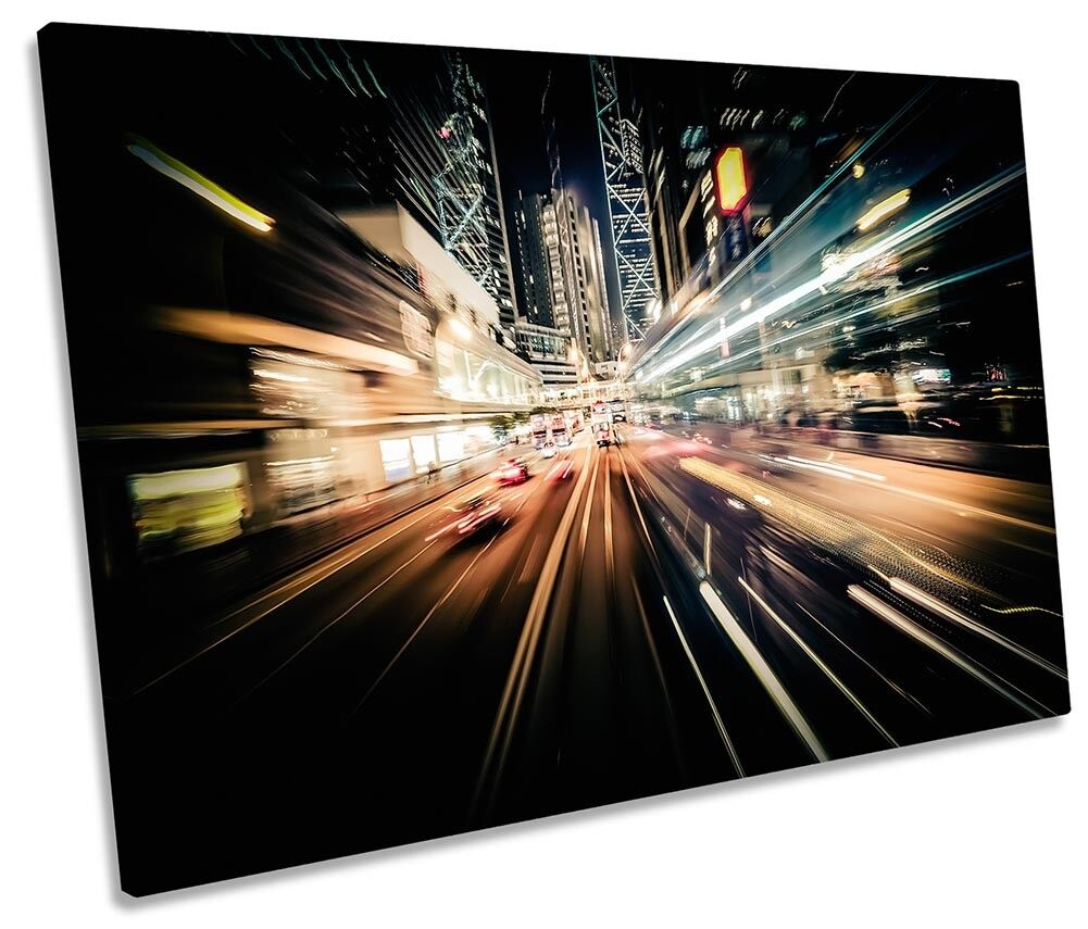 Hong Kong Abstract Traffic City Framed SINGLE CANVAS PRINT Wall Art