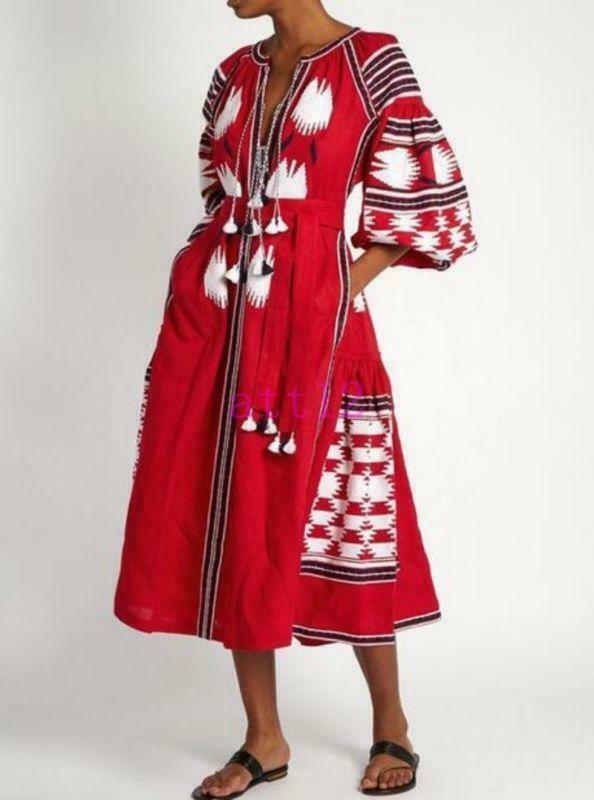 Fashion Womens Bohemia Vita Kin bohemia eagle skirt embroidery Beach Long Dress