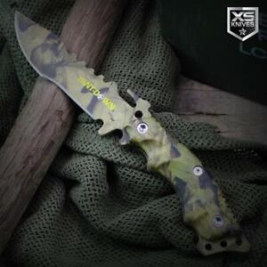 """10"""" CAMO Tactical SURVIVAL Full Tang FIXED BLADE Hunting Knife BOWIE + Sheath"""